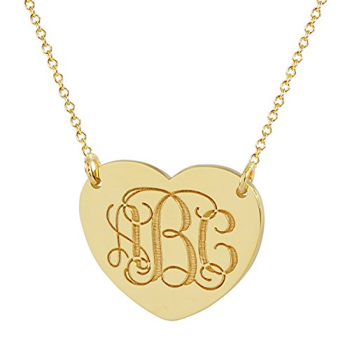 10K Solid Gold Dainty Heart Disc Charm 3 Initials Monogram Necklace Deep Laser Engraved GC21C (16 Inches, (Yellow Gold Monogram)