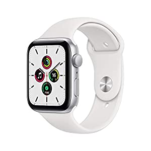 New Apple Watch SE (GPS, 44mm) – Silver Aluminium Case with White Sport Band