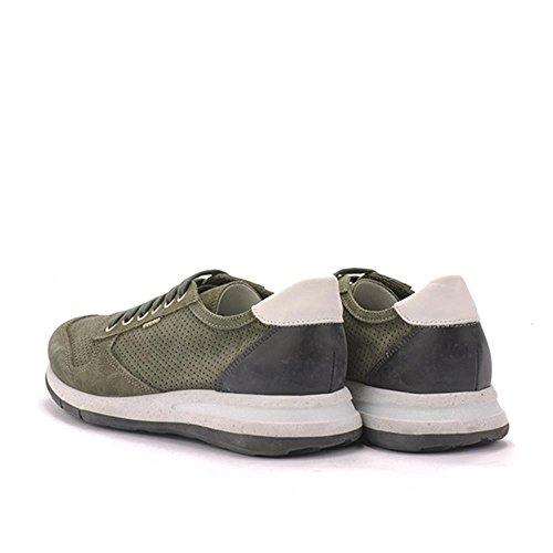 Colore Frau Beige Italy Salvia Forato Lavato Uomo Camoscio Made Sneakers In xqOX6