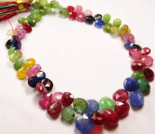 GemAbyss Beads Gemstone 1 Strand Natural 8 Inch-Super Natural Multi Precious Faceted Heart Shape Emerald, Ruby, Blue Sapphire,Yellow Sapphire,Pink Sapphire 4.5 to 8 MM Code-MVG-22738