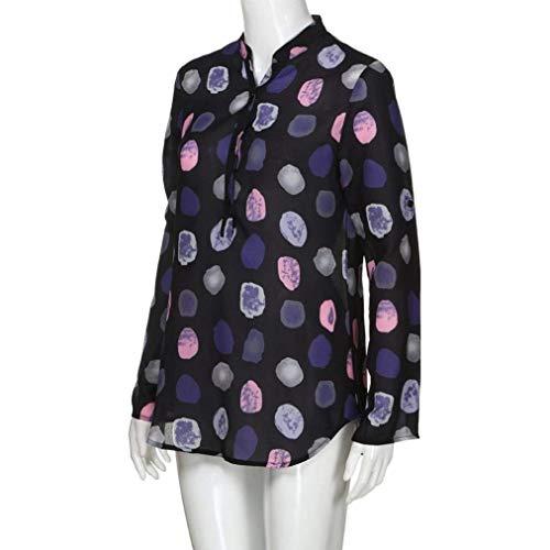 Grande V Festives Printemps Manches Haut Chemise Schwarz Blouse Automne Polka Mode Elgante Femme Shirt Tops Longues Dcontract Dots Button Taille Chic Costume Cou qCxaUPxg