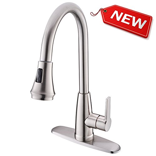 Hotis Best High Arc 1 or 3 Hole Single Handle Stainless Steel Prep Sprayer Pull Out Pull Down Sprayer Kitchen Sink Faucet,Brushed Nickel Kitchen Faucets with Deck Plate