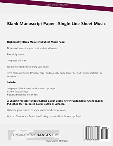Blank Manuscript Paper   Single Line Sheet Music: Mr Joseph Alexander:  9781505808629: Amazon.com: Books  Blank Sheet Of Paper With Lines