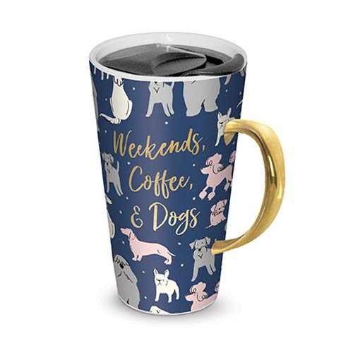 (Lady Jane 13oz Spill Proof Ceramic Coffee Travel Mug with Lid Series (Weekends, Coffee, Dogs))