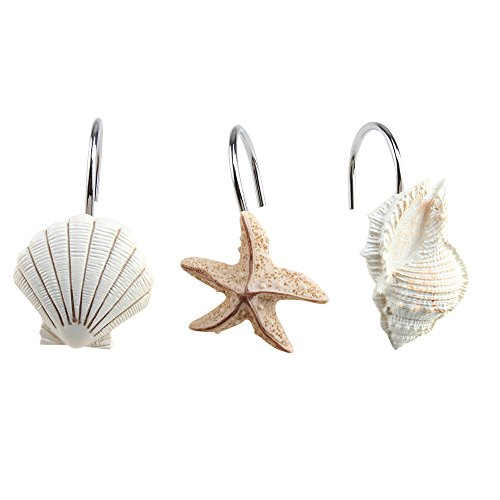 Bathroom Seashell Shower Curtain Hooks
