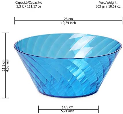 Diamond Line Roomy and Durable but Also Elegant by The Diamond Effect Omada Design Salad Bowl Diameter 10,24 inch Blue 33,81 fl oz Available in Different Colors