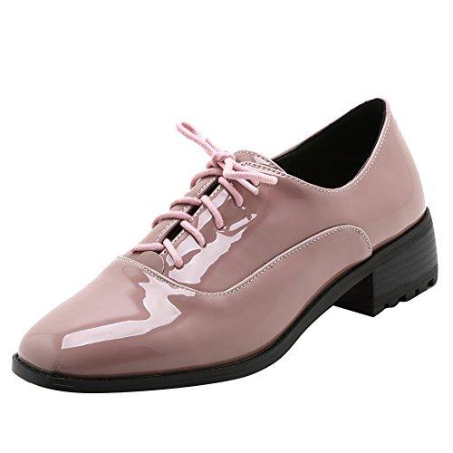 Show Shine Dames Casual Vetersluiting Ruige Hak Oxfords Schoenen Roze