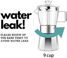 GEESTA - Cafetera de cristal para espresso (9 tazas): Amazon.es: Hogar
