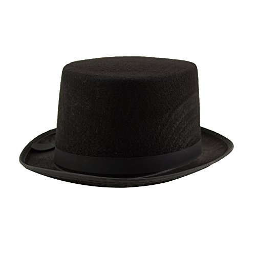 Adorox Sleek Felt Black Top Hat Fancy Costume Party Accessory (Black (1 Hat)) by Adorox (Image #3)
