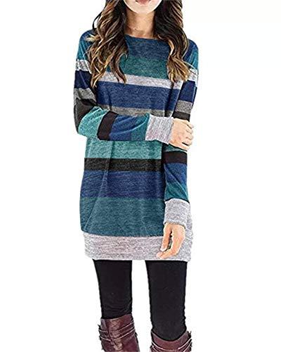 CNJFJ Womens Color Block Tunics Lightweight Striped Loose Knit Pullover Sweatshirt Tops