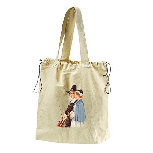 Couple With Gun And Turkey Canvas Drawstring Beach Tote Bag by Style in Print