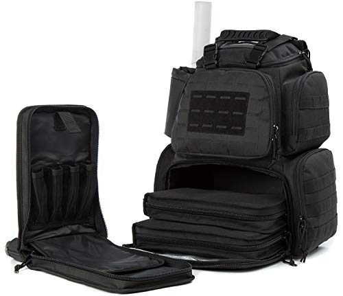 SUNLAND Range Bag Backpack,Gun Backpack with 3-Pistol Case and Protective Rain Cover,Tactical molle System & Lockable zippers-18