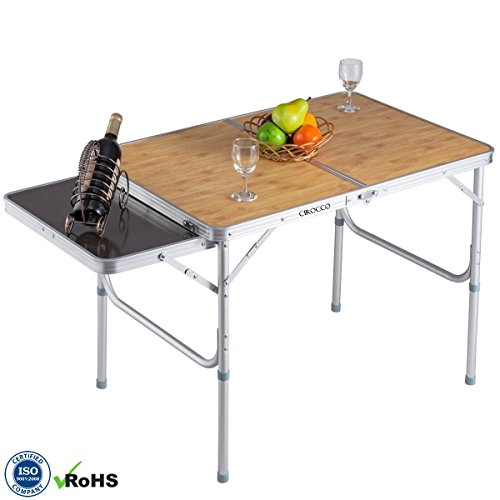 Aluminum Alloy Portable Folding Indoor Outdoor Camping BBQ Picnic Table Desk w/ MDF Wood Top | Heavy Duty Compact Lightweight Furniture for Patio Garden Party Backyard Beach Swimming Hiking Fishing