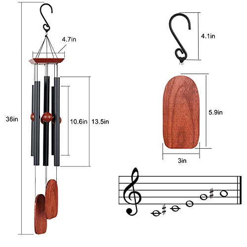 Saododku Wind Chimes, 36in Wind Chimes for Outside with Antirust Aluminum Alloy Tubes Tuned Soft Melody and Ash Wood, Deep Tone Wind Chimes Outdoor for Garden Décor