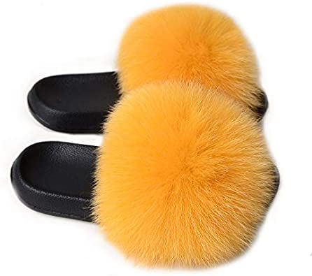 Real Fox Fur Slides Summer 2019 Open Toe Fluffy Real Hair Slipper Slip On Flip Flops Furry Shoes,13,121