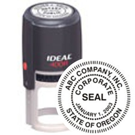 Custom Corporate Or Company Seal // Quality Medium Duty Self-Inking Stamp (Seal) // Seal Design Features A Standard Border // Impression 1 5/8