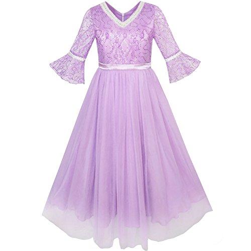 Sunny Fashion KK37 Girls Dress Lace Sequin V-Neckline Pageant Wedding Size 12