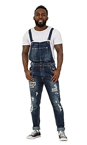 [해외]파괴 데님 망 Bib 오버올 - 슬림 피트 Bib 오버올 립 Abrasions/Destroyed Denim Mens Bib Overalls - Slim Fit Bib Overalls Rips Abrasions