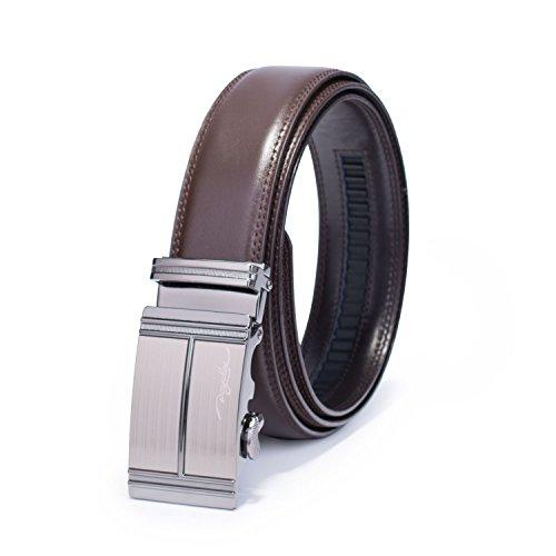 POYOLEE Men's Leather Ratchet Dress Belt with Automatic (Mens Leather Buckle Dress Belt)