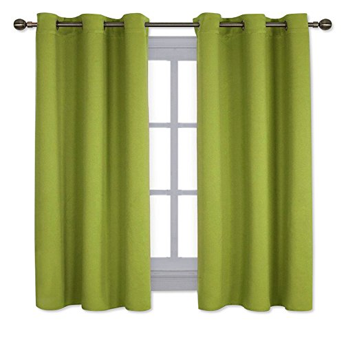 NICETOWN Thermal Insulated Solid Grommet Top Blackout Curtains/Drapes for Kid's Room (1 Pair,42 x 63 Inch in Fresh Green)