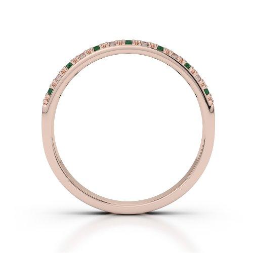 Or Rose 18carats 0,20CT G-H/VS Certifié Coupe ronde Émeraude et diamants Agdr-1129