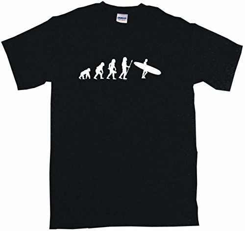Evolution Junior Snowboard - Evolution of Humans with Surfboard Logo Big Boy's Kids Tee Shirt Youth XL-Black