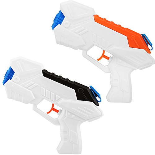 Zooawa Portable Water Gun, [2 Packs] Water Blaster Pump Water Pistols Soaker Squirt Shooting Guns Toys for Kids for Summer Swimming Pool Party, Beach and Backyard Games - Black & -