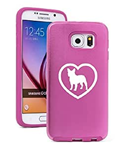 Samsung Galaxy S6 Aluminum Silicone Dual Layer Hard Case Cover French Bulldog Heart (Light Pink)