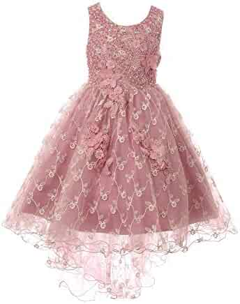 74dc97989a41 Cinderella Couture Little Girls Mauve Rhinestone Sequin Embroidered Flower  Girl Dress 2-6