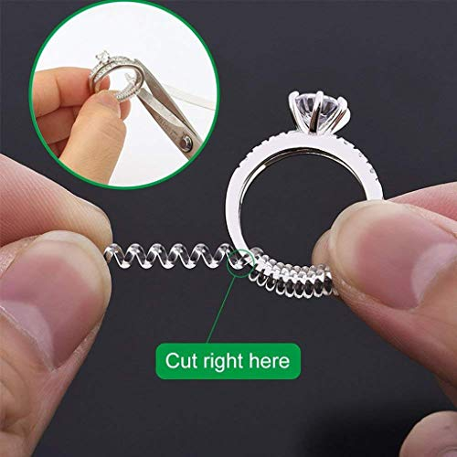 Elevin(TM)  15 Ring Size Adjuster with 3 Sizes Clear Ring Sizer Resizer Fit for Loose - Diamond Gold Snowman