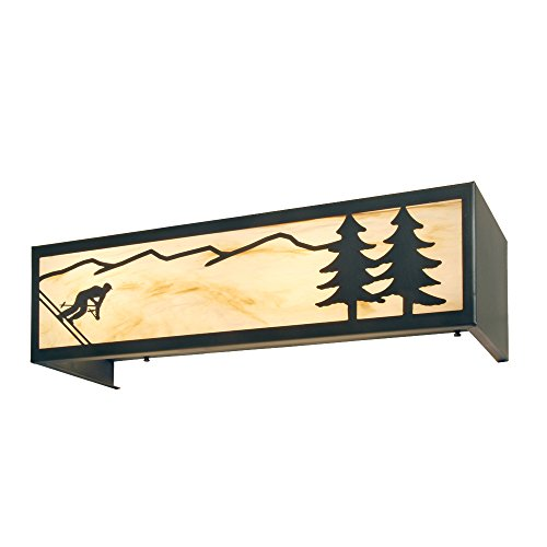 - Steel Partners Lighting 2660-4-B-BG Vanity - Downhill Skier (4 Lights) with Black Finish & Bungalow Green Lens