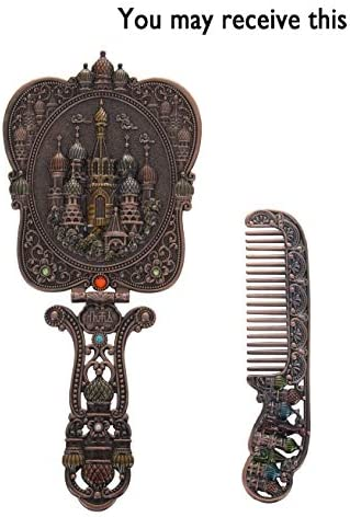 Nerien Vintage Castle Metal Hand Mirror Antique Russian Style Handheld Vanity Mirror Comb Set Copper