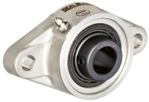 Sealmaster SFT-16C CR Standard Duty Flange Unit, 2 Bolt, Corrosion Resistant, Regreasable, Contact Seals, Setscrew Locking Collar, 316 Stainless Steel Housing, 1