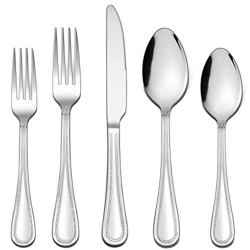 LIANYU 50-Piece Silverware Flatware Set for 10, Stainless Steel Cutlery Set with Pearled Edge, Fancy Eating Utensils…
