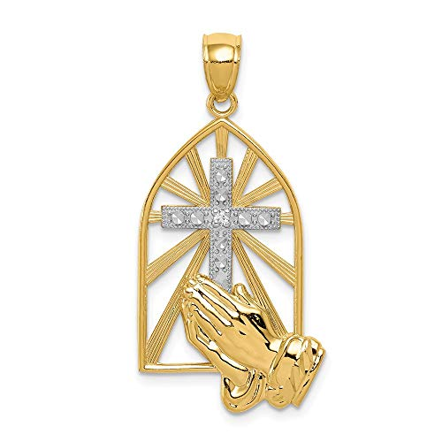 14k Yellow Gold Praying Hands Pendant Charm Necklace Religious H Fine Jewelry Gifts For Women For - Charm Praying 14k Hands