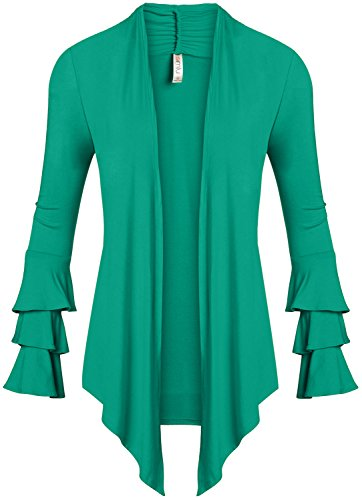 Top Emerald Green (Emerald Open Front Drape Cardigan Sweater with Ruffle Sleeves Made in Usa,XXX-Large,Emerald)