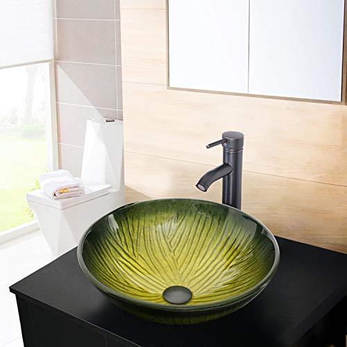 Sundex Artistic Tempered Glass Bathroom Vessel Sink,Green Counter Top Basin Sink +Oil Rubbed Bronze Faucet,Sundux Bathroom Faucet Set