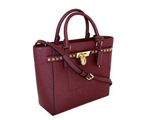 Signature Tote Traveler (MICHAEL Michael Kors Women's Hamilton Traveler STUDDED Large TOTE Leather Handbag (Plum))