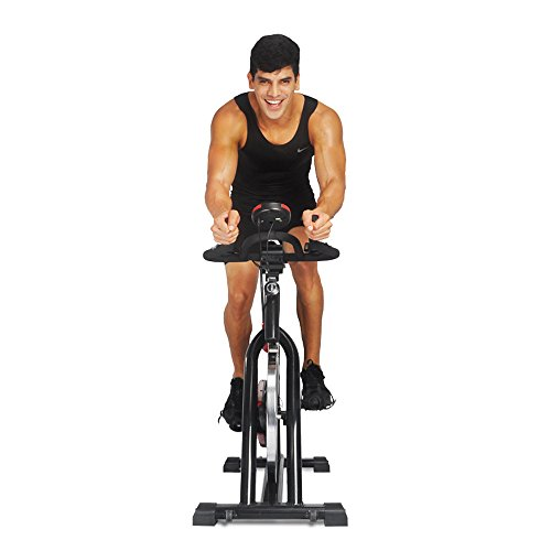 Crystal Ultra-silence Indoor Upright Cycling Bike with LCD Monitor Exercise Bike for Health and Fitness-Black&Red