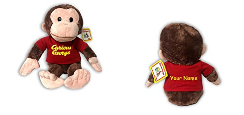 Personalized Curious George in Red Shirt Plush Stuffed Animal Toy with Name for Boy or Girl - 12 ()