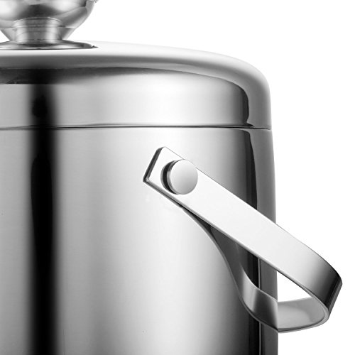 Insulated Ice Bucket,Stainless Steel Double Wall Ice Bucket with Lid and Tongs,2.8-Litre,Silver by Fortune Candy (Image #8)'
