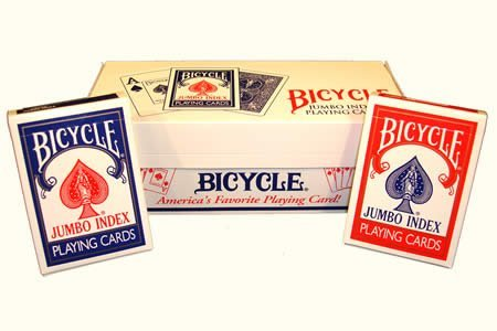 12 Decks Bicycle Rider Back Playing Cards Jumbo Index (6 red & 6 blue) by Brybelly