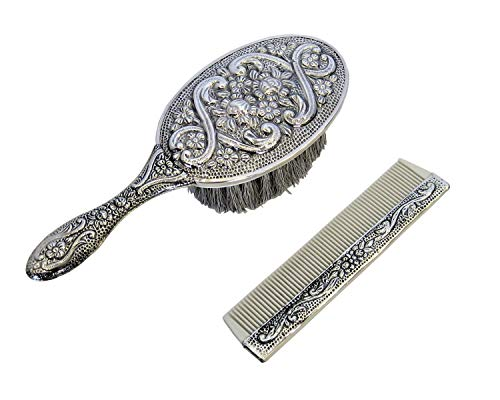 925 Sterling Silver Girl's Comb & Brush Set with Pink Felt Gift Box