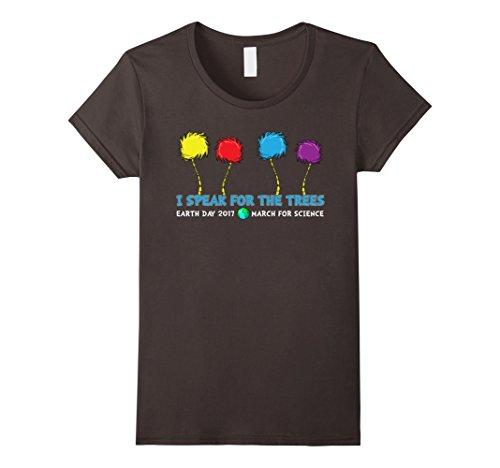 Women's Earth Day T-Shirt -Speak For The Trees Arbor DayTee Large Asphalt