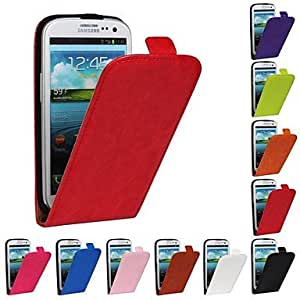 qyf Flip-Open Horse Grain PU Leather Full Body Case for Samsung S3 I9300 (Assorted Colors) , Blue
