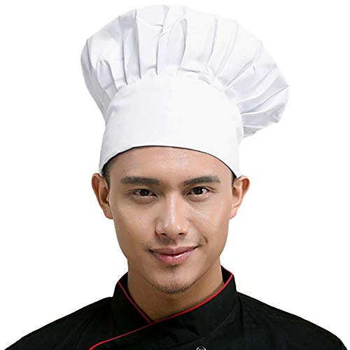 Eternity J. Chef Hat Adjustable Elastic Baker Kitchen Cooking Baking Chef Cap Works Uniforms Hats for Adult Men Women -