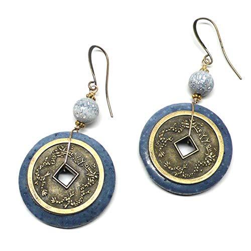 Denim Blue Sponge Coral Chinese Replica Coin Pierced Earrings