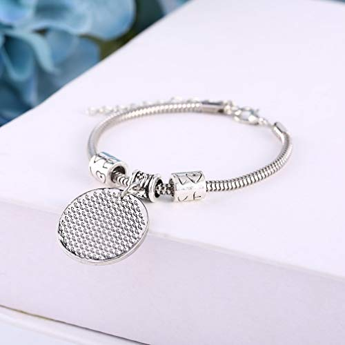 (Lamijua Women Man Chain Grandmother & Grandson Forever Pattern Round Pendant Link Bracelet Charm Bangle Family Female Jewelry Gift )