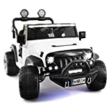 2018 Best Electric Ride On Car Two Seater Truck with Remote Control for Kids | Large Capacity 12V Power Battery Licensed Kid Car to Drive with 3 Speeds, Leather Seat, Rubber Tires - White