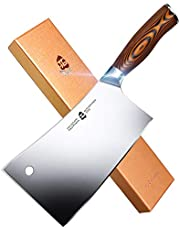 """TUO Meat Cleaver - Heavy Duty Meat Chopper - High Carbon German Stainless Steel Butcher Knife - Pakkawood Handle Kitchen Chopping Knife - Gift Box - 7"""" - Fiery Phoenix Series"""